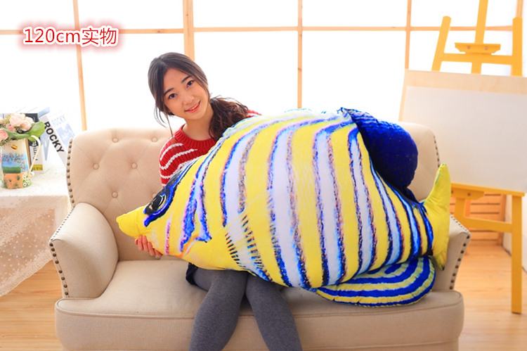 huge new creative blue&yellow stripe sea fish toy plush sea fish pillow doll gift about 120cm