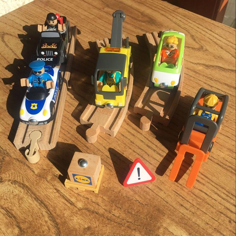 Thomas wooden track Brio track Police Car Trailer Forklift ...