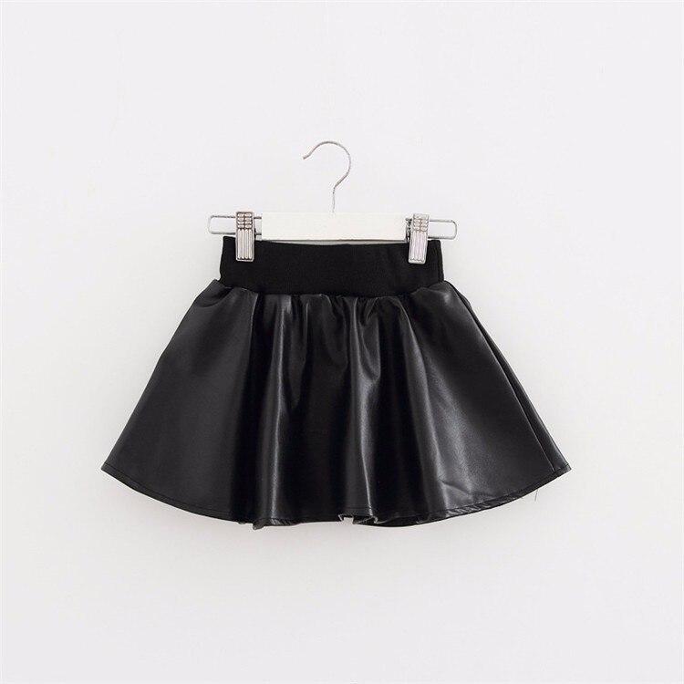 Girls Skirts New Fashion PU Faux Leather jupe Elastic Waist Baby Girl Tutu Skirt Autumn Black Kids Short Skirt Children Clothing