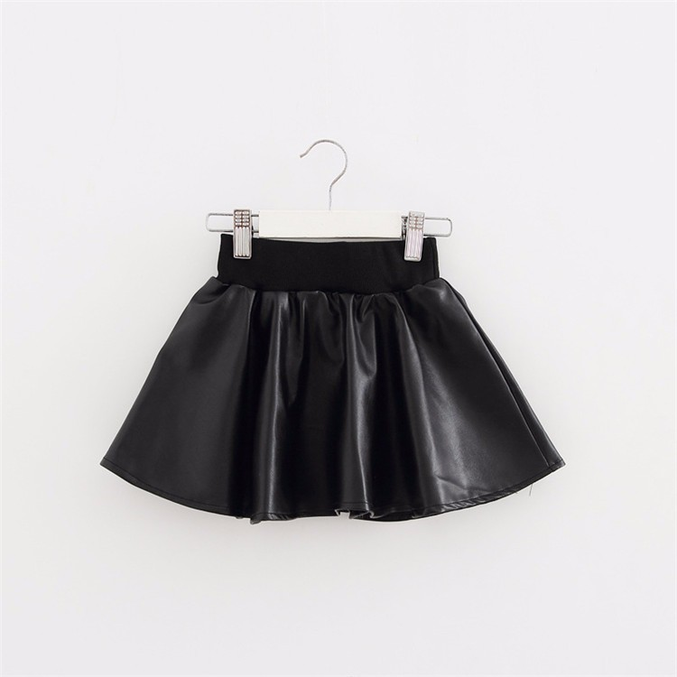 Girls Skirts New Fashion PU Faux Leather jupe Elastic Waist Baby Girl Tutu Skirt Autumn Black Kids Short Skirt Children Clothing faux leather pleated skirt in black