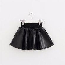 Girls Skirts New Fashion PU Faux Leather jupe Elastic Waist Baby Girl Tutu