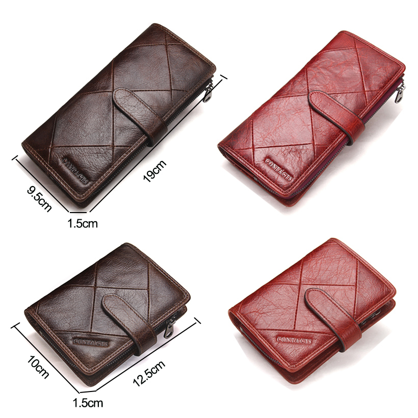 CONTACT'S New Fashion Men Wallet Long Genuine Leather For Male Luxury Brand Purses and Female Clutch Wallets With Coin Pockets 2