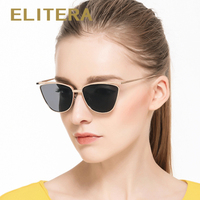ELITERA 2016 Hot Cat Eye Mirror Sunglasses Women Fashion Brand Designer Stylish Flat Lens Metal Frame