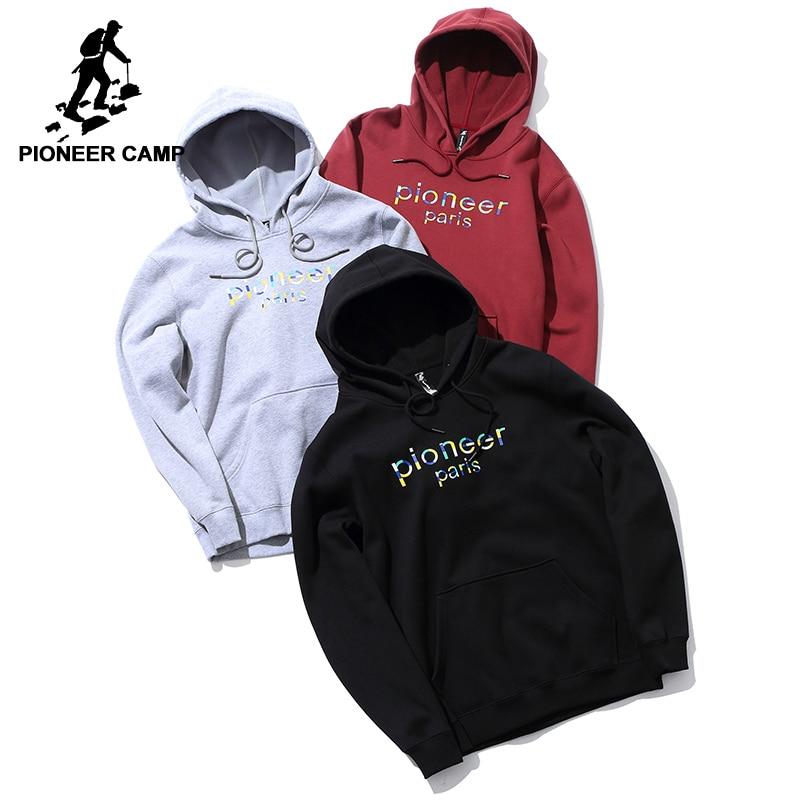 Pioneer Camp Warm Fleece Hoodies Men Brand-clothing Fashion Winter Thick Hooded Sweatshirts Male AWY702312