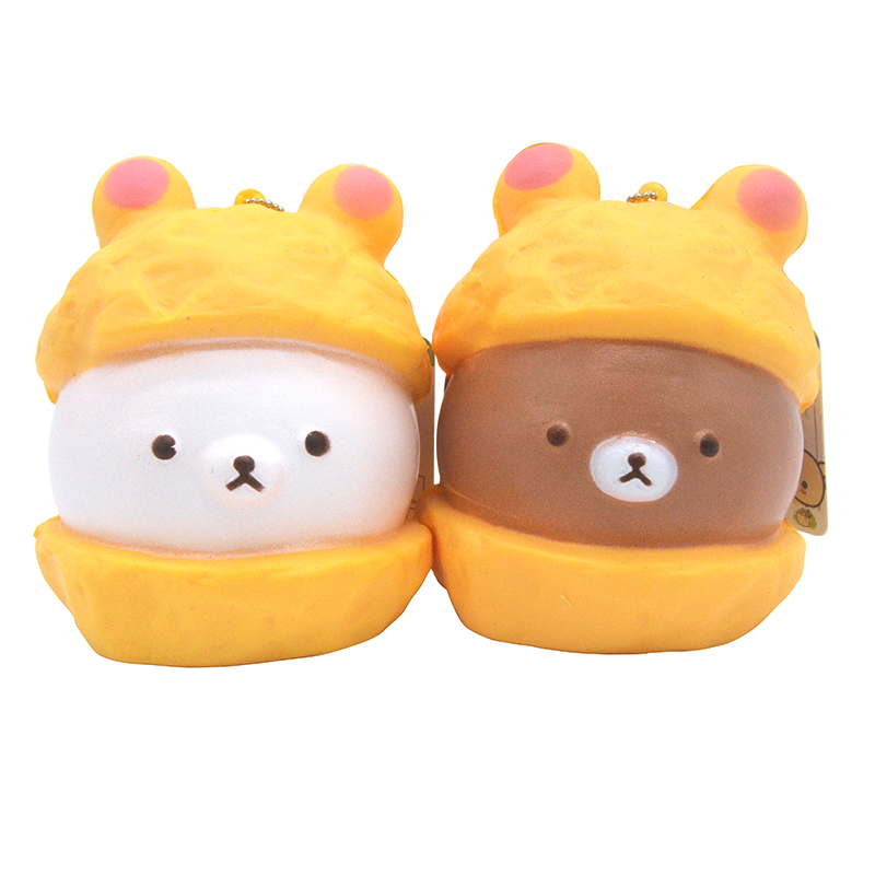 9cm Hot Kawaii Jumbo Cap Rilakkuma Squishy Soft Doll Collectibles Cartoon Bread Scented Ballchain With Tag