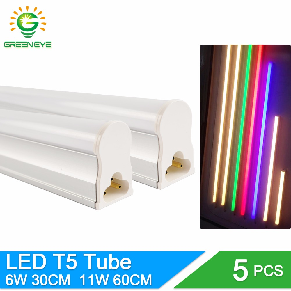 GreenEye 5pcs/lot Integrated LED T5 Light 220v 0.3m 6W / 0.6m 11W Tube Lamp T5 LED Cold White Warm Fluorescent Lights Neon 10W