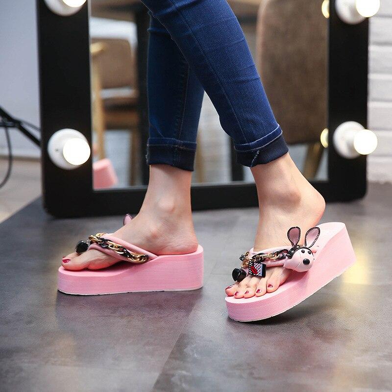 Lapin rose Sexy Chaussures Décoration Punk Flip Ciel blanc Muffin Zapatos forme Flops Rouge Femmes D'été 2018 Dames Mujer Plate Sandales rose Marque Noir pu rouge Chaînes X0n8PwOk