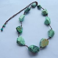 NEW Design Natural Stone Green Turquoise Gemstone Necklace 1 Strand 77 1g The Green Turquoise Size