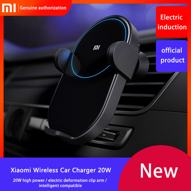 Original Xiaomi Mi Wireless Car Charger 20W Max Electric Auto Pinch 2.5D Glass Ring Lit Charging for Xiaomi Mi Smartphone