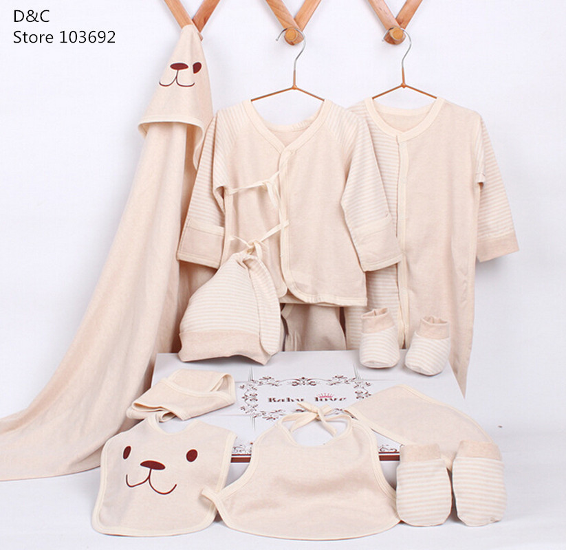 13 pcs/set New fashion 2015 newborn sets gift 100% organic cotton safe for infant baby clothes all for kids clothing accessories
