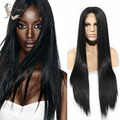 Top Quality Heat Resistant Fiber black color Long Natural Straight Black Synthetic middle part Lace Front wigs for Black Women