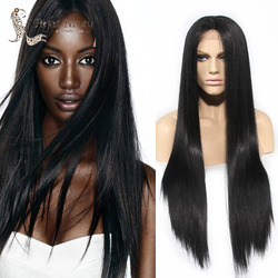 Top quality heat resistant fiber black color long natural straight black synthetic middle part lace front.jpg 250x250