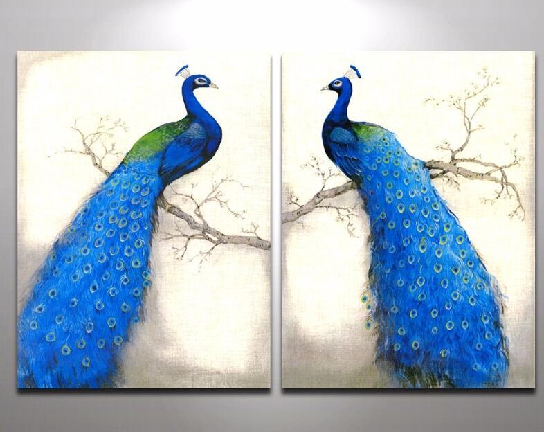 Slaapkamer Vintage Blue : 2 stks moderne vintage blauwe pauw schilderij canvas schilderij tak