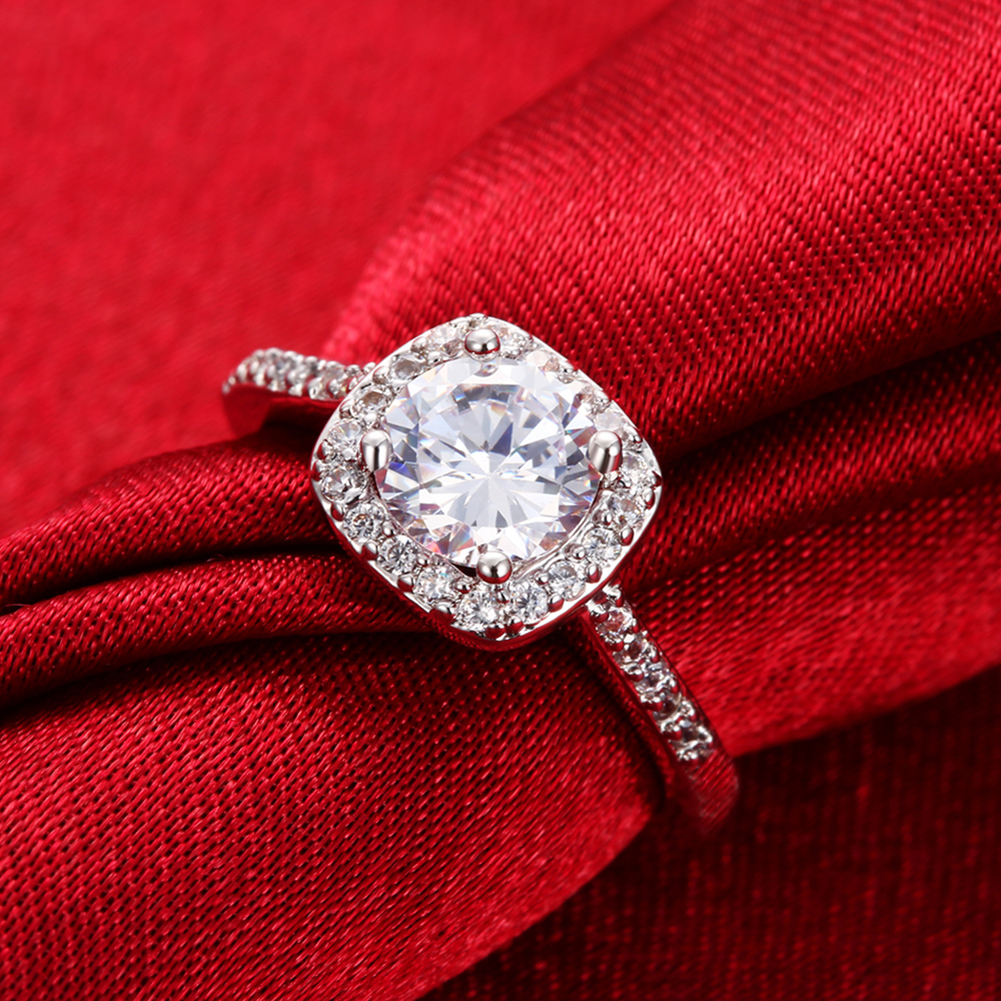 Size 8 Silver Engagement Ring