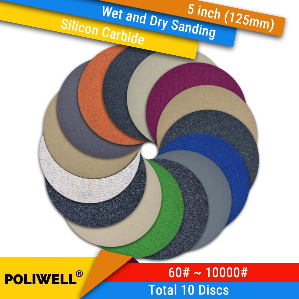10PCS 5 Inch(125mm) Silicon Carbide Hook&Loop Waterproof Sanding Discs Wet/Dry Sanding Round Abrasive Sandpaper Car Polishing
