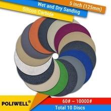 Купить с кэшбэком 10PCS 5 Inch(125mm) Silicon Carbide Hook&Loop Waterproof Sanding Discs Wet/Dry Sanding Round Abrasive Sandpaper Car Polishing