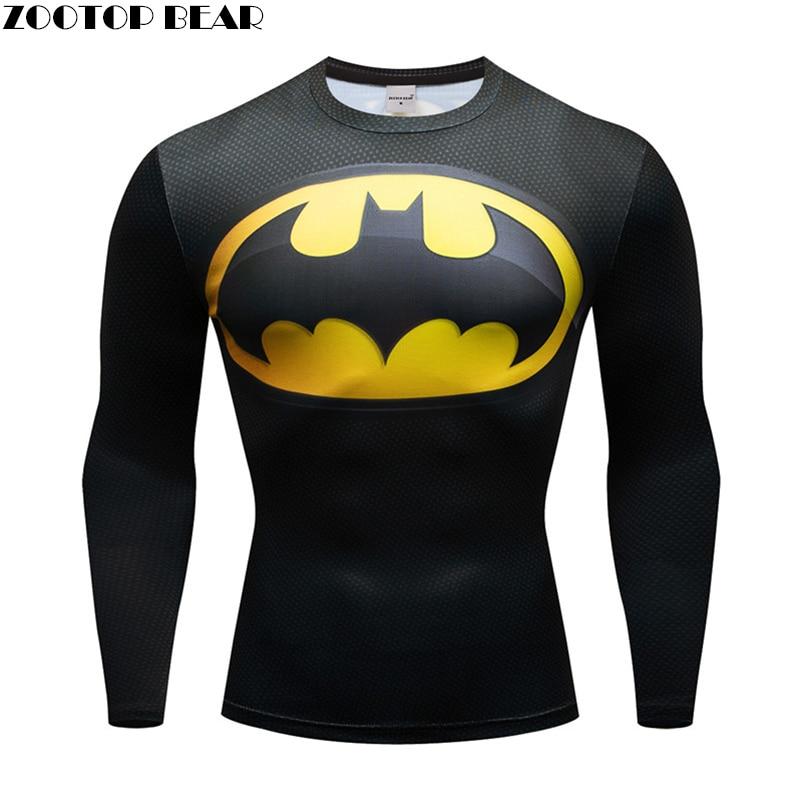 Unisex Film Marvel Superman batman Wonder Women Men Compression Shirts Girl's Long sleeve T Shirt Female Fitness Tights Shirts