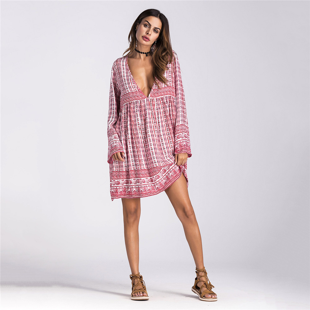 GHZTYF Dress Women Autumn Sexy Clothing Summer Fall Clothes Boho Beach Loose Print Elegant Bohemian Long Sleeve Dresses in Dresses from Women 39 s Clothing