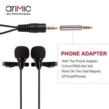 Original Ulanzi Dual-Head Lavalier Micrófono de Solapa Set 1.5 m/6 m de longitud de cable para Youtube Entrevista de Conferencia reunión para el iphone 7