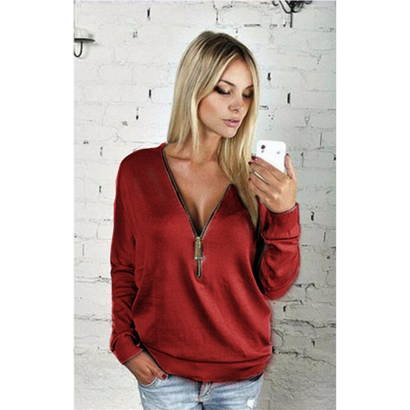 Women Sexy Fashion Batwing Sleeve Blouse Deep V Collar Zipper Sweater Long Sleeved T-shirt Plus Size S-5XL (12)