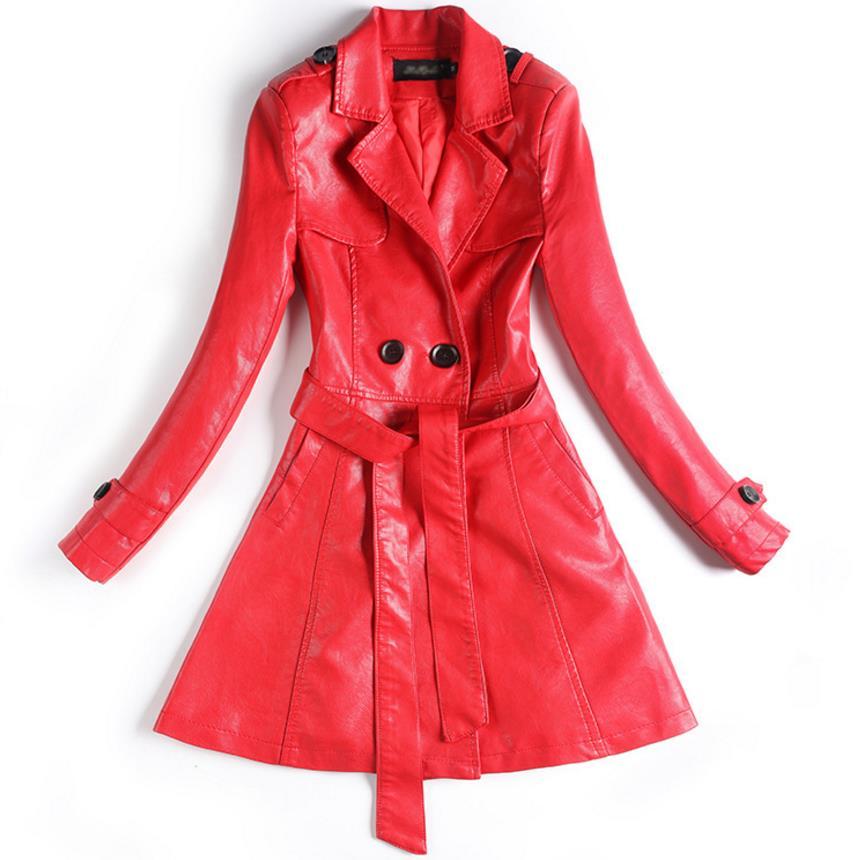 Womens Long Wool PU   Leather   Sleeve Jacket Coat Windbreaker Double-breasted plus size