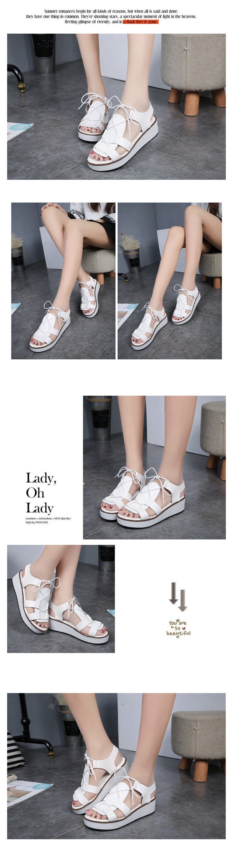 Hot Sale New Spring Summer Fashion Sandals Thick Soled Shoes Lace-up Black White Women sandals HSD08  (5)