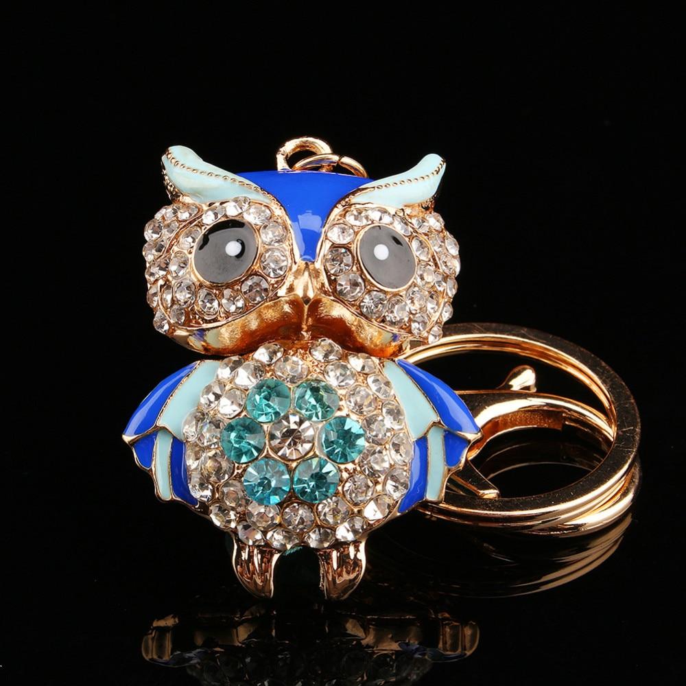 Owl Charm Crystal Keychain