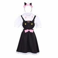 Japanese Lolita Style Summer Women Suit Neko Atsume Cat Print Cartoon Anime Cosplay Dress Blouse Accessories