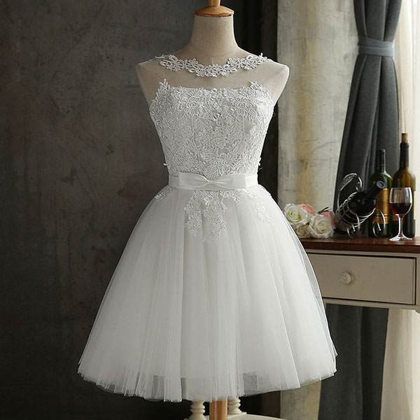 DEERVEADO халат Коктейльные Вечерние платье элегантное платье с низким вырезом на спине Короткие коктейльные платья с регулируемой шнуровкой на спине, платье для выпускного вечера CH604B - Цвет: Белый