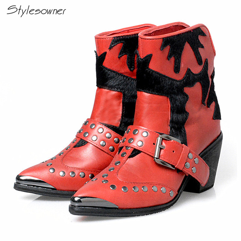 Stylesowner Vintage Point Toe Western Boots Cow Leather Horsehair Patchwork Knight Boots Silver Rivets Buckle Martin Boots Women stylesowner british women martin boots belt buckle rivets round toe flat knight boots motocyle real leather cool boots female
