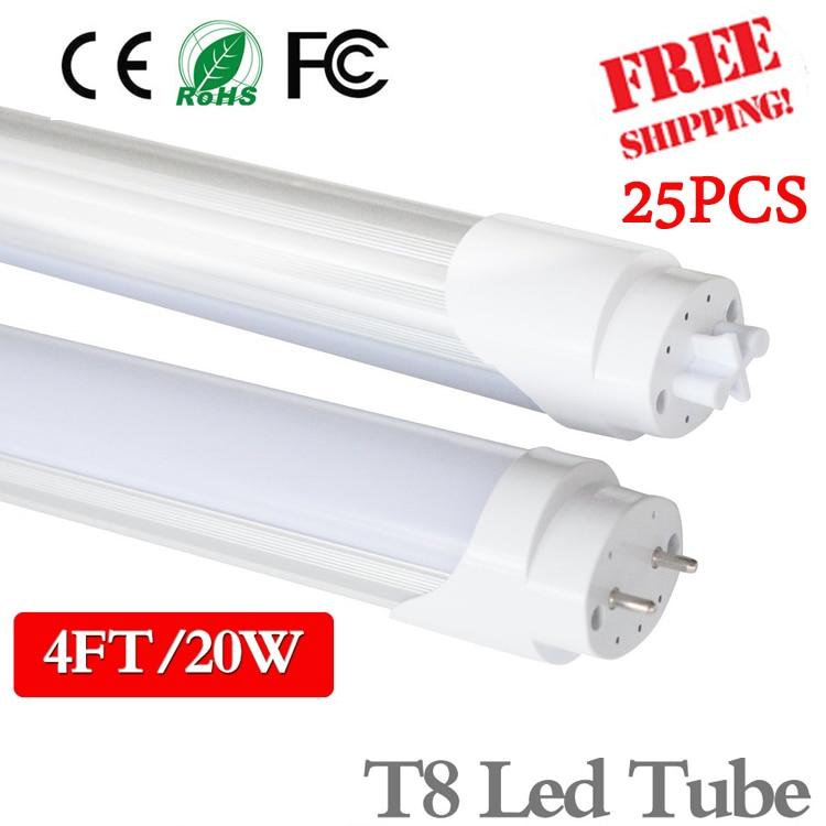 25PCS 4ft LED Tube light T8 1200mm 20W AC85V-285V  G13 Super Bright  LED Fluorescent light  3000K 4000K 6500K SMD2835 LED light t8 led tube 1200mm light 18w120cm 4ft 1 2m g13 with holder fixture high power smd2835 fluorescent replacement 85 265v