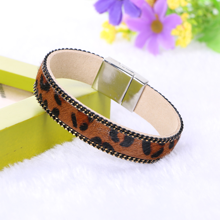 Online Hot Fashion Vintage Leopard Leather Horse Hair Bracelet Magnetic Bracelets Bangles For Women Men Handmade Jewelry Aliexpress Mobile