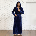 Homens e Mulheres Amantes de Inverno Unissex Cheio Comprimento Extra Grosso Flanela Com Capuz Pijamas Robes Roupão Salão Desgaste Roupa de Dormir