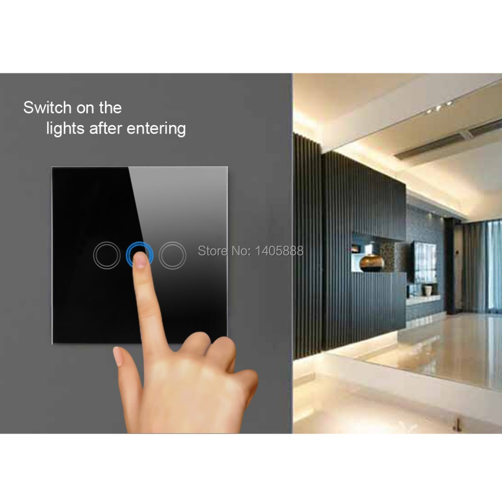 Christmas gift Wireless Smart house home Touch screen wall todo light switch lamp switches for villa,crystal UK plug glass panel