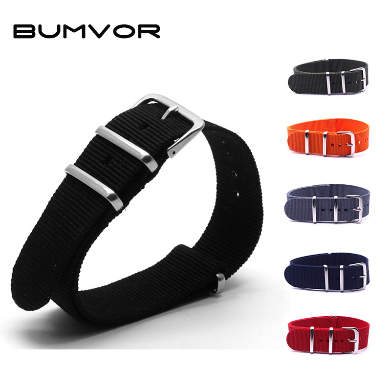BUMVOR 6 Colors Watchband Nylon Strap Silver Ring Buckle 16mm 18mm 20mm 22mm 24mm Striped Replacement Band Watch Accessories 50pcs 16mm 18mm 20mm 22mm 24mm 5 colors new silicone rubber watch strap band deployment buckle waterproof black watchband