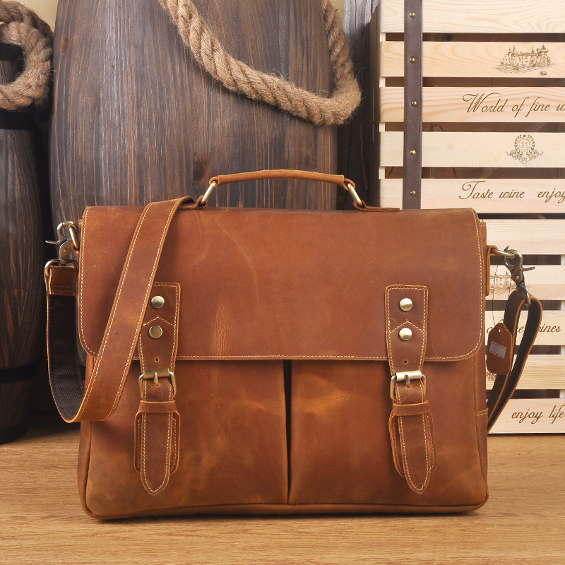 Vintage Mens Genuine Leather briefcase Men Bag Business Crazy Horse leather Laptop Double Layer messenger bag PC work toteVintage Mens Genuine Leather briefcase Men Bag Business Crazy Horse leather Laptop Double Layer messenger bag PC work tote