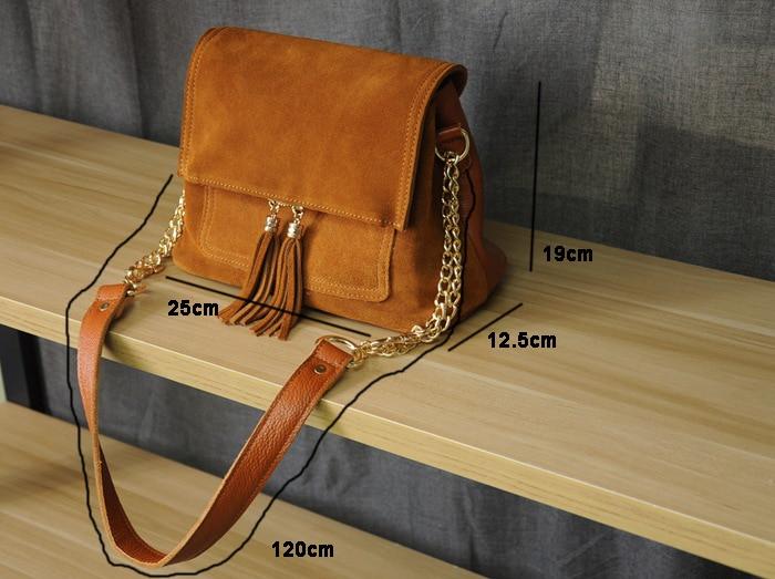 Women Genuine Leather Fringe Shoulder Bags Fashion Cow Suede Tassel Brown Chain Multi Pockets Crossbody Bucket Bags (6)