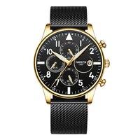 2018 homens de Negócios de Moda Assistir Cinta de Aço Inoxidável À Prova D' Água Homens Relógios com Calendário Cronômetro Relógio de Quartzo Relógio de Pulso|Relógios de quartzo| |  -
