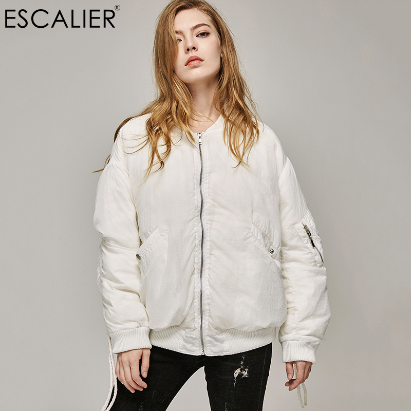 Escalier Women Bomber   Down     Coats   2017 Oversized Casual White Duck   Down   Winter   Coat   Warm Slim Zipper Women Fashion Light Outwear