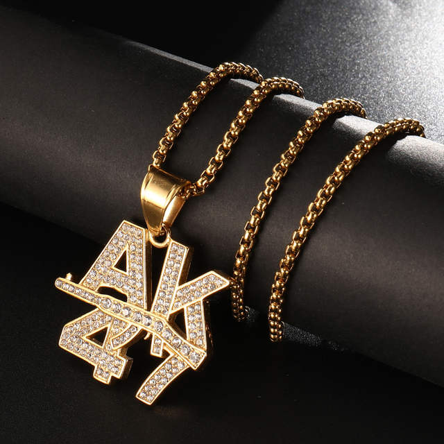 US $3 9 45% OFF|Hip Hop Bling Rapper Style Rhinestone Paved iced out  Stainless Steel Letter AK 47 Gun Pendants & Necklaces for Men Jewelry-in  Pendant