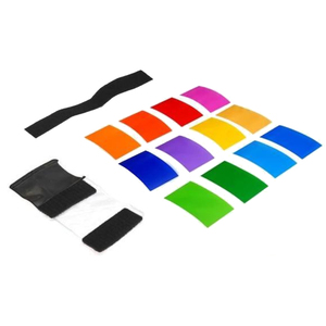 Image 5 - Gosear 12 قطع شفافة اللون هلام تصفية ضوء فيلم ورقة فلتر حامل 12 اللون للاستوديو فك مضيا 1.8x3 بوصة