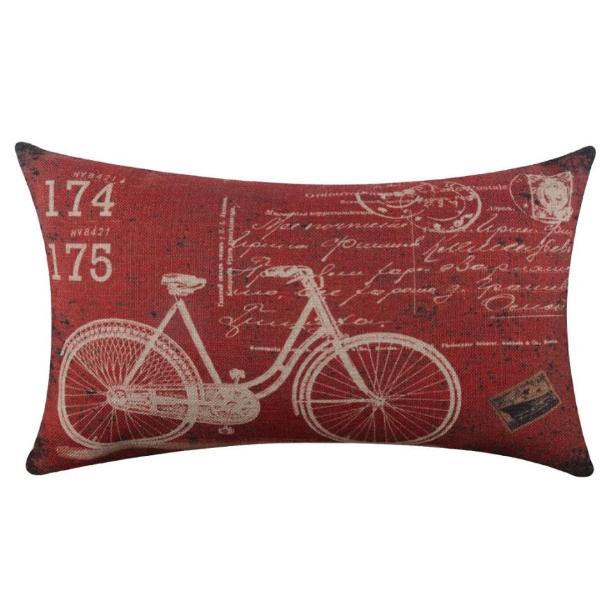2018 Pillow Case 30*50 Bicycle Linen Square Throw Flax Pillow Case Decorative Cushion Pillow Cover Free Shipping NEW DE15