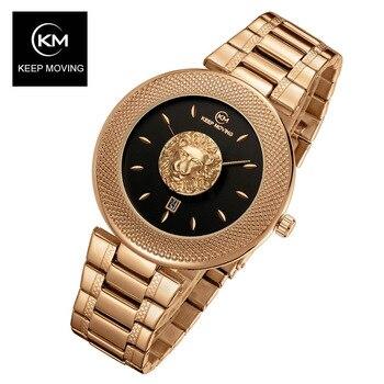 цена KEEP Moving Women Fashion Blue Quartz Watch Lady Steel Watchband High Quality Casual Waterproof Wristwatch Gift for Wife 2019 онлайн в 2017 году