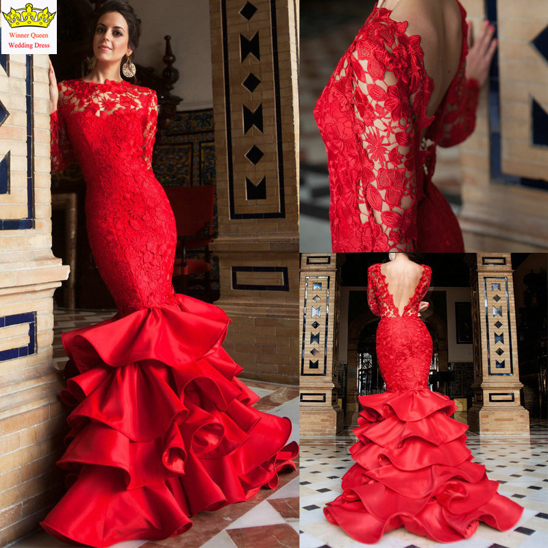 Beautiful red color sexy mermaid long sleeve lace wedding for Wedding dresses color red