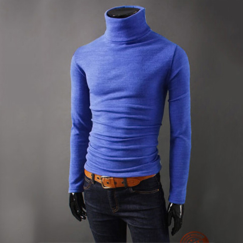 2018 Sweater Mens Turtleneck Slim Sweater Men,Royal Blue,M
