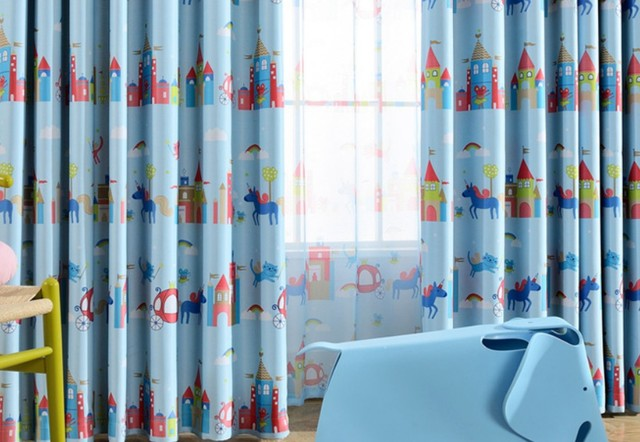 Gordijnen Slaapkamer Kind : Blauw cartoon gordijn woonkamer kinderen jongens meisjes slaapkamer