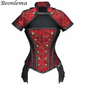 Beonlema Black Red Corsets Steampunk Women Sexy Goth Clothing Steel Bones Overbust Gothic Retro Korse Femme Punk Corset Set