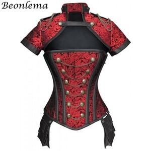 Image 3 - Beonlema Corset gothique, rouge, noir, Steampunk pour femmes, tenue Sexy en acier, surbuste, Corset gothique rétro, Punk
