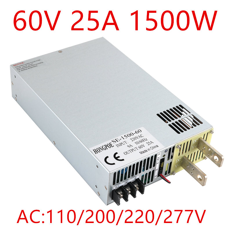 1PCS SE-1500-60 DC 0-60v power supply 60V 25A 1500W 60V adjustable power AC-DC High-Power PSU 1500W DC60V25A