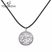 Todorova Vintage Style Silver Slavic Alatirshit Pendant Necklace Kolovrat Pendant Charm Women Men Statement Necklaces